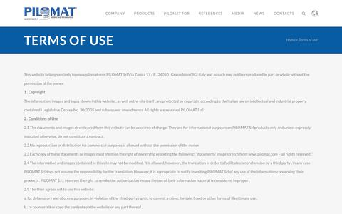 Screenshot of Terms Page pilomat.com - Pilomat |   Terms of use - captured Dec. 9, 2015