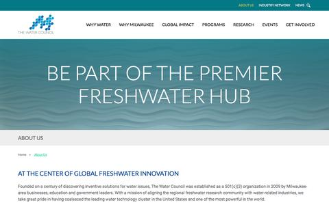 Screenshot of About Page thewatercouncil.com - About Us – The Water Council - captured May 10, 2017