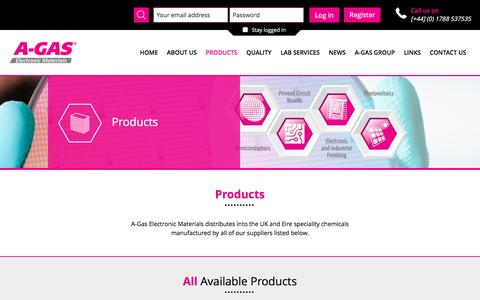 Screenshot of Products Page agasem.com - Our Products | A-Gas Electronic Materials - captured June 26, 2016