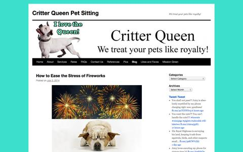 Screenshot of Blog critterqueen.com - Blog | Critter Queen Pet Sitting | We treat your pets like royalty! - captured Sept. 30, 2014