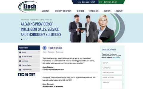 Screenshot of Testimonials Page etechgs.com - Contact Center and BPO Testimonials | Etech Global Services - captured Sept. 19, 2014
