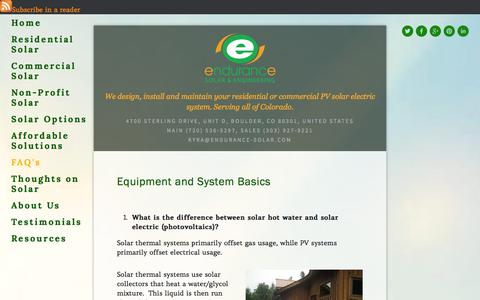 Screenshot of FAQ Page endurance-solar.com - FAQ's — Endurance Solar- Residential and commercial solar panel installers and custom system design. - captured Oct. 2, 2014