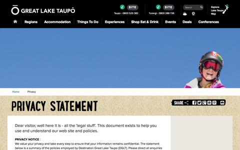 Screenshot of Privacy Page greatlaketaupo.com - Great Lake Taupo | Taupo's Website Privacy Policy - captured Sept. 25, 2014