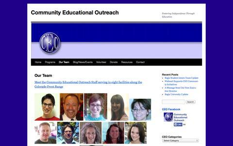 Screenshot of Team Page ceocolorado.org - Our Team | Community Educational Outreach - captured Oct. 8, 2014