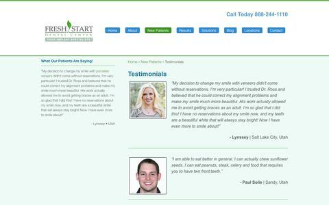 Screenshot of Testimonials Page freshstartdental.com - Patient Testimonials | Fresh Start Dental Center - captured Sept. 30, 2014