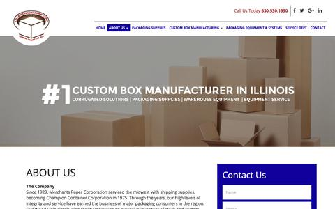 Screenshot of About Page champion-container.com captured Sept. 27, 2018