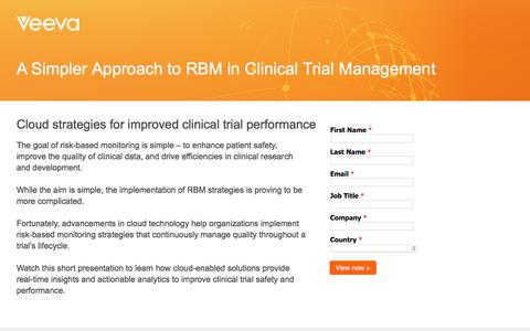Screenshot of Landing Page veeva.com - Risk Based Monitoring: Cloud Strategies for Improved Clinical Trial Performance - captured June 21, 2018