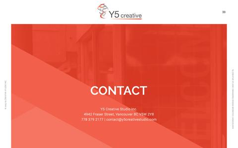 Screenshot of Contact Page y5creative.com - Contact | Y5 Creative Studio | Give us a Shout - captured Feb. 2, 2016