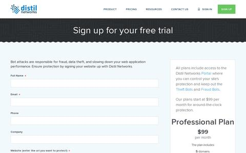 Screenshot of Trial Page distilnetworks.com - Sign up for your free trial | | Distil Networks Distil Networks - captured July 20, 2014