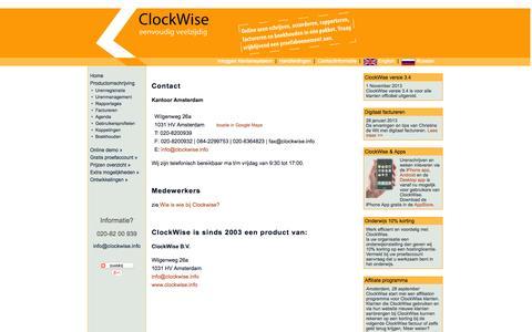 Screenshot of Contact Page clockwise.info - Clockwise: Urenregistratie, Tijdschrijven, Projectmanagement, Factureren en Boekhouden. - captured Sept. 30, 2014