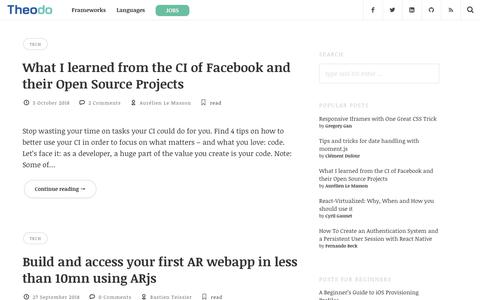 Screenshot of Blog theodo.fr - Theodo - Node,Symfony, Php, AngularJs,React,Ansible, Devops - captured Oct. 21, 2018