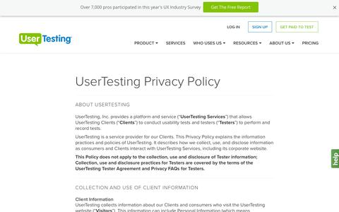 Screenshot of Privacy Page usertesting.com - UserTesting Privacy Policy - captured March 10, 2016