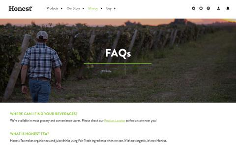 Screenshot of FAQ Page honesttea.com - Frequently Asked Questions - captured May 24, 2019