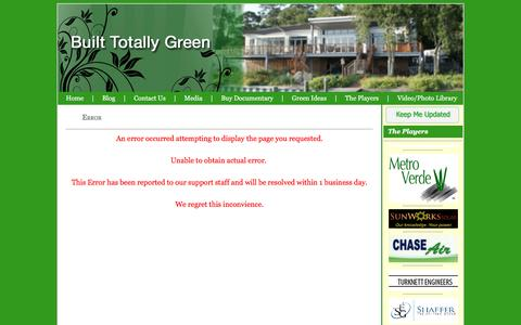 Screenshot of Site Map Page builttotallygreen.com - Built Totally Green :: Error Page - captured July 30, 2016