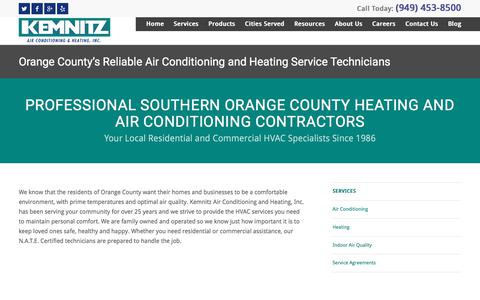 Screenshot of Services Page kemnitzhvac.com - HVAC Services | Orange County - captured July 7, 2017