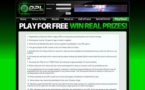 Screenshot of Terms Page discoverpokerleague.com - Terms and Conditions - captured Sept. 30, 2014