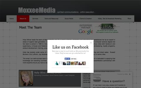 Screenshot of About Page moxxeemedia.com - About MoxxeeMedia - captured Nov. 7, 2017