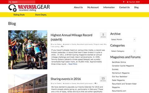 Screenshot of Blog reversegearinc.com - Blog   Reverse Gear - captured Jan. 11, 2016