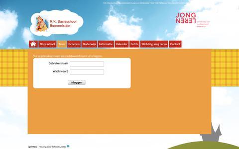 Screenshot of Login Page bommelstein.nl - R.K. Basisschool Bommelstein » Team » Login - captured March 3, 2018