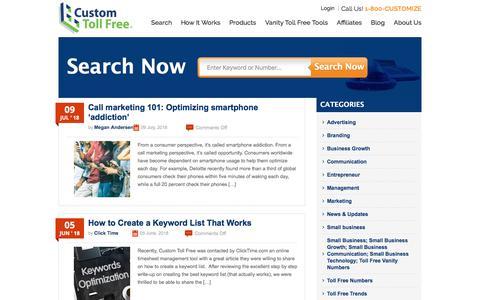 Screenshot of Blog customtollfree.com - Toll Free Blog - Custom Toll Free - captured July 24, 2018