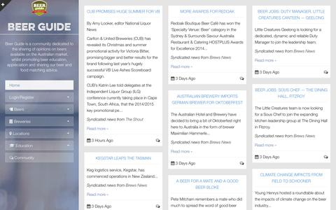 Screenshot of Home Page beerguide.com.au - Beer Guide - captured Sept. 30, 2014