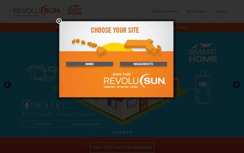 Screenshot of Home Page revolusun.com - RevoluSun – Cleaner. Smarter. Living. - captured Feb. 9, 2016