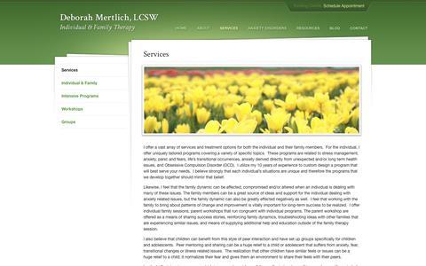 Screenshot of Services Page dmertlich.com - Therapy & Counseling Services | Deborah Mertlich Therapy - captured Oct. 8, 2018