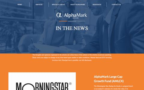 Screenshot of Press Page alphamarkadvisors.com - News - AlphaMark Advisors - captured July 29, 2018