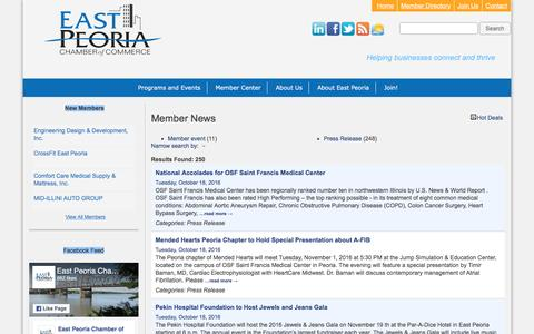 Screenshot of Press Page epcc.org - Member News - East Peoria Chamber of Commerce - captured Oct. 19, 2016
