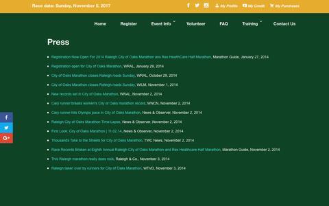 Screenshot of Press Page cityofoaksmarathon.com - City of Oaks Marathon Loading… – City of Oaks Marathon - captured May 17, 2017