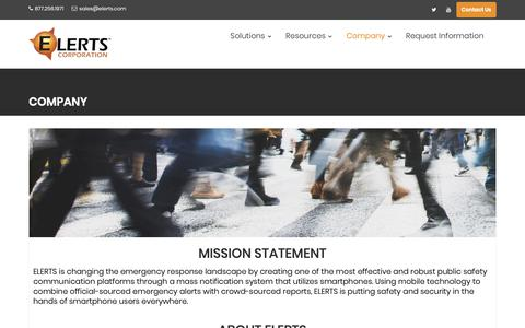 Screenshot of About Page elerts.com - Company – ELERTS Corp. - captured Feb. 14, 2019