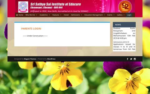 Screenshot of Login Page sssieducare.org - Parents login | Sri Sathya Sai Institute of Educare - captured Feb. 27, 2018