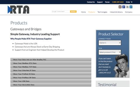 Screenshot of Products Page rtaautomation.com - Gateways and Bridges by Real Time Automation - captured Nov. 5, 2014