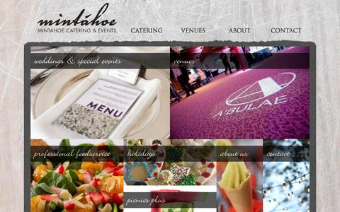 Screenshot of Home Page mintahoe.com - Mintáhoe | Mintahoe Catering & Events - captured Oct. 9, 2014