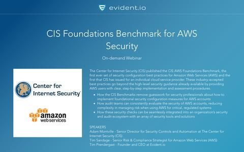 Screenshot of Landing Page evident.io - CIS Foundations Benchmark for AWS Security - On-demand Webinar - captured April 30, 2017