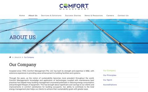 Screenshot of About Page energyconservation.sg - Comfort Management - Our Company - captured Nov. 10, 2016