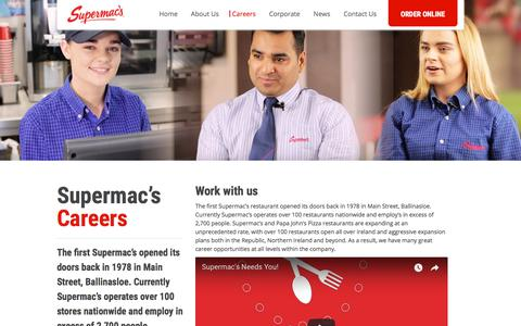 Screenshot of Jobs Page supermacs.ie - Supermac's Ireland career opportunities | Jobs and careers at Supermac's - captured Sept. 21, 2018