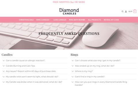 Screenshot of FAQ Page diamondcandles.com - FAQ - Diamond Candles - captured Dec. 9, 2019
