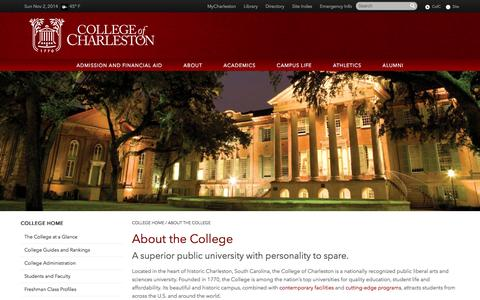 Screenshot of About Page cofc.edu - About the College - College of Charleston - captured Nov. 2, 2014