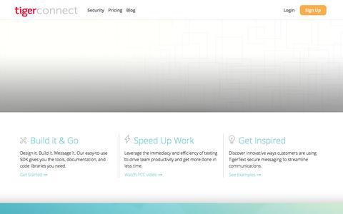 Screenshot of Developers Page tigertext.com - TigerConnect Č TigerText - captured Dec. 15, 2015