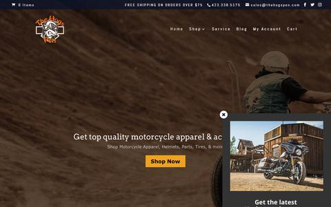 Screenshot of Home Page thehogspen.com - Motorcycle Apparel, Parts, & Service - The Hogs Pen - captured May 1, 2018