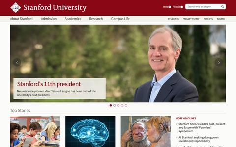 Screenshot of Home Page stanford.edu - Stanford University - captured Feb. 9, 2016