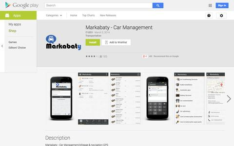 Screenshot of Android App Page google.com - Markabaty - Car Management - Android Apps on Google Play - captured Oct. 27, 2014