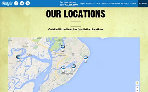Screenshot of Locations Page outsidehiltonhead.com - Outside Hilton Head Has 5 Distinct Area Locations to Serve You Better - captured Feb. 26, 2016
