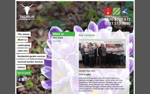 Screenshot of Team Page taurusgardening.com - meet the team - captured Oct. 26, 2014