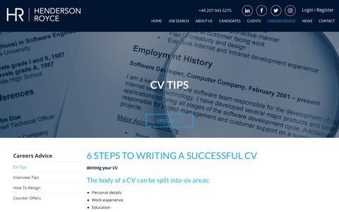 Screenshot of Jobs Page hendersonroyce.com - CV Writing Tips | How to Create a CV | Top Tips & Advice - Henderson R  | Henderson Royce - captured Nov. 4, 2018