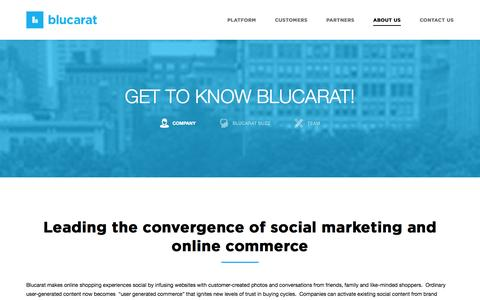 Screenshot of About Page blucarat.com - About | Blucarat: Social Commerce Platform for Collaborative Social Shopping - captured Sept. 13, 2014