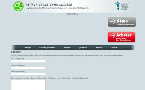 Screenshot of Contact Page patient-cloud-communicator.com - Contact | Patient Cloud Communicator - captured April 8, 2016