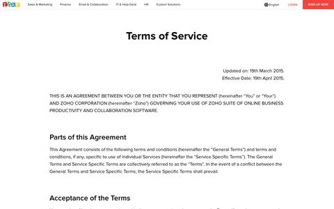 Screenshot of Terms Page zoho.com - Zoho - Terms of Service - captured April 24, 2018