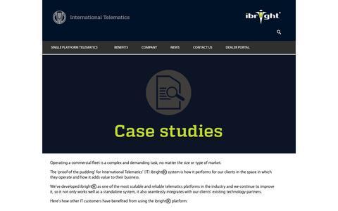 Screenshot of Case Studies Page internationaltelematics.com - International Telematics: Case Studies - captured Sept. 16, 2014